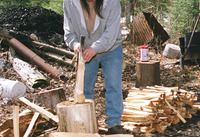 Thumb splitting wood